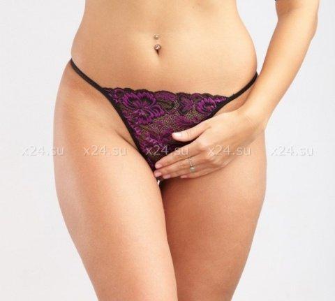 Черно-фиолетовые кружевные стринги M