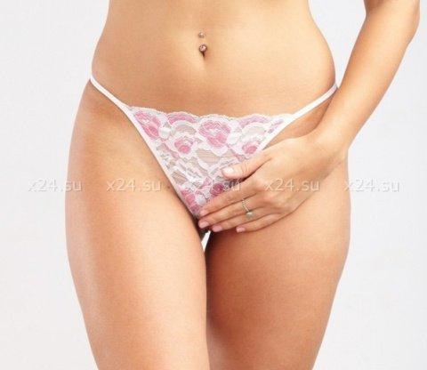 Бело-розовые кружевные стринги