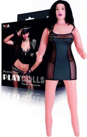 Кукла надувная с реалист. головой. Брюнетка. Вставка вагина в анус. 3 отверстия. Костюм полицейской