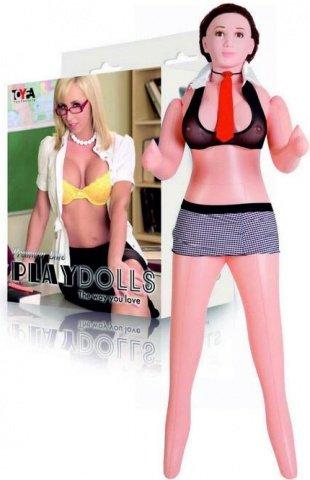 Кукла надувная с реалистичной головой. Шатенка. Вставка вагина в анус. 3 отверстия. Костюм училки