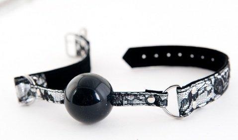 Кляп с кружевным ремешком серебристый, фото 2