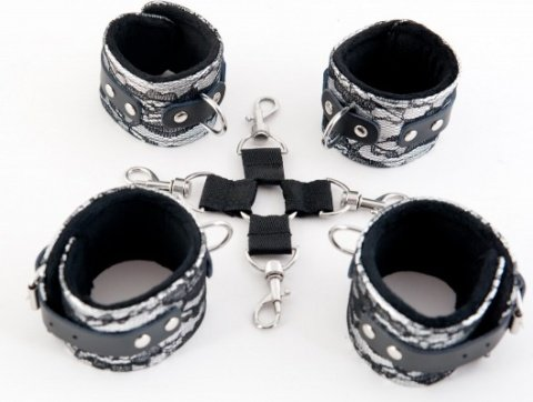 Кружевной бондажный комплект серебристый, фото 2