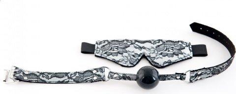 Кружевной набор серебристый: маска и кляп, фото 3