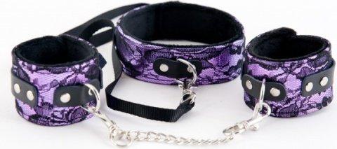 Кружевной набор пурпурный: ошейник и наручники