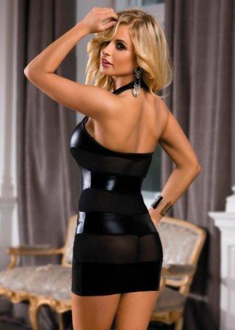 Платье c wetlook-эффектом черное, фото 2