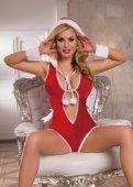 Новогодний комбинезон с капюшоном и манжеты красно белые - Секс шоп Мир Оргазма