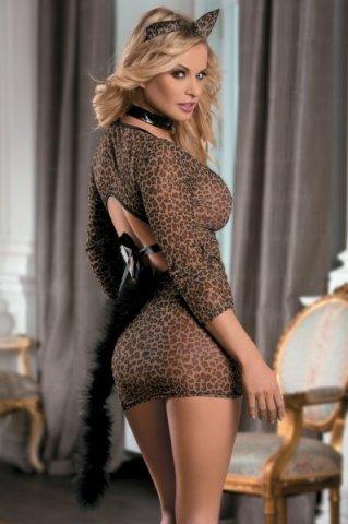 Костюм кошки: платье, стринги, галстук и ушки леопардовый, фото 2