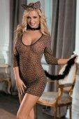 Костюм кошки: платье, стринги, галстук и ушки леопардовый