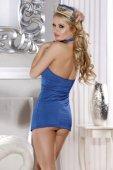 Костюм бортпроводницы (платье, стринги, галстук и головной убор) голубой - Секс-шоп Мир Оргазма