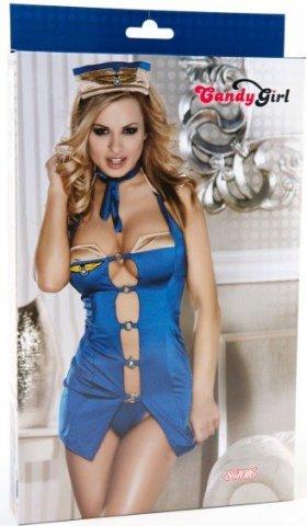 Костюм бортпроводницы (платье, стринги, галстук и головной убор) голубой, фото 2
