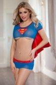 Костюм супервуман топ, юбка и стринги сине красный - Секс шоп Мир Оргазма