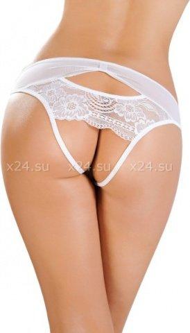 Эротические трусики со вставкой стрейч-сетки белые (50-52), фото 2