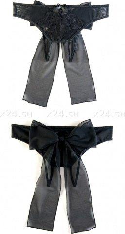Эротические трусики из стрейч-сетки с бантом черные ( ), фото 3