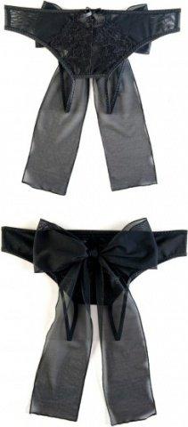 Эротические трусики из стрейч-сетки с бантом черные (50-52), фото 3