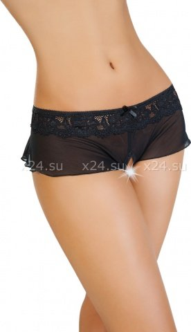 Эротические трусики-юбочка из стрейч-сетки черные (42-44)