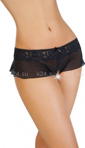 Эротические трусики-юбочка из стрейч-сетки черные (46-48)