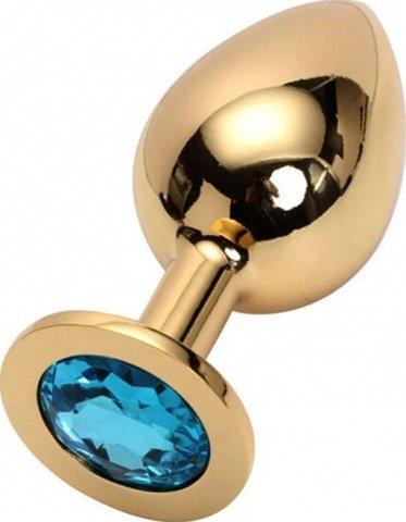 Анальная пробка с голубым кристаллом, большая, золотая, 40 х90 мм