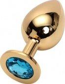 Анальная пробка с голубым кристаллом, большая, золотая, 40 х90 мм - Секс-шоп Мир Оргазма