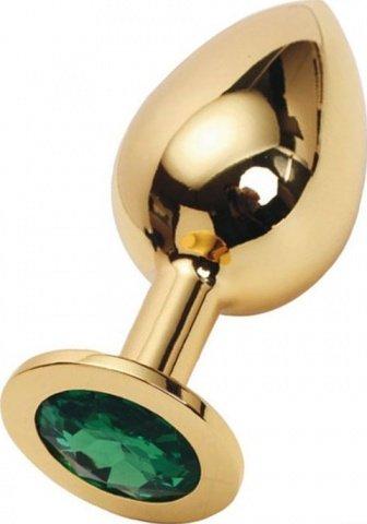 Анальная пробка с изумрудным кристаллом, большая, золотая, 40 х90 мм