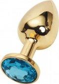 Анальная пробка с голубым кристаллом, малая, золотая, 27 х70 мм - Секс шоп Мир Оргазма