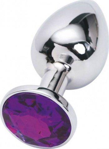 Анальная пробка с фиолетовым кристаллом, малая, серебряная, 27 х70 мм