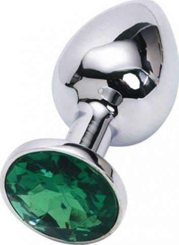 Анальная пробка с изумрудным кристаллом, малая, серебряная, 27 х70 мм