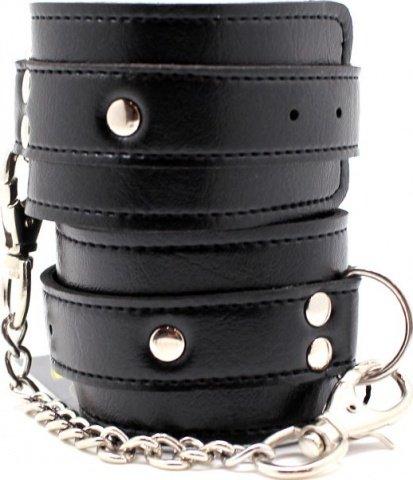 Наручники с усиленным ремешком, цепочка с карабинами, черные,, фото 4