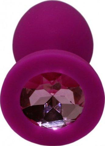 Малая пробка с розовым кристаллом, фиолетовая, 30 х73 мм, фото 4