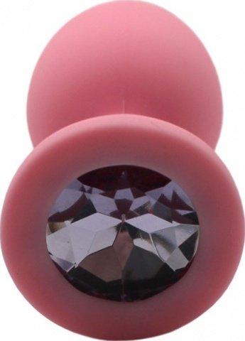 Малая пробка с сиреневым кристаллом, розовая, 30 х73 мм, фото 4