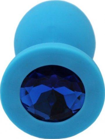 Малая пробка с синим кристаллом, голубая, 30 х73 мм, фото 4