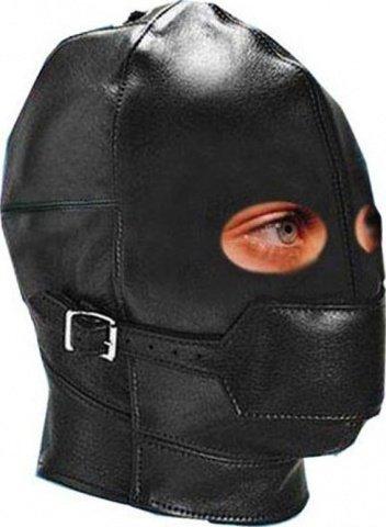 Шлем с застежкой на рот и с желтым кляпом внутри, черный