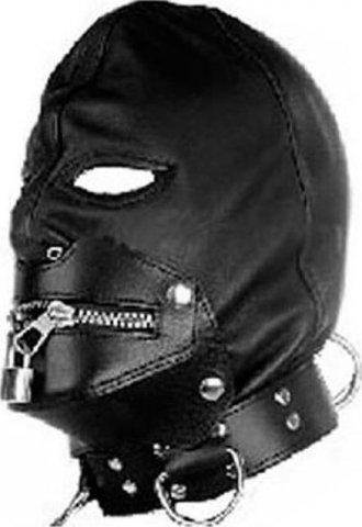Шлем на ошейнике с молнией на рот, черный