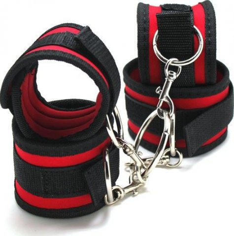 Фиксатор руки-ноги, короткий, текстиль, черно-красный,, фото 2
