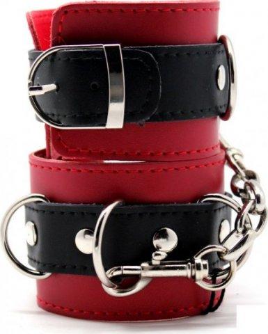 Наручники с полукольцами, на карабинах, черно-красные,, фото 2
