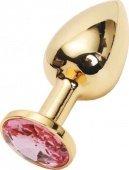 Купить анальные пробки с кристаллом. Анальная пробка с розовым кристаллом, малая, золотая, 27 х70 мм. Интим сексшоп.
