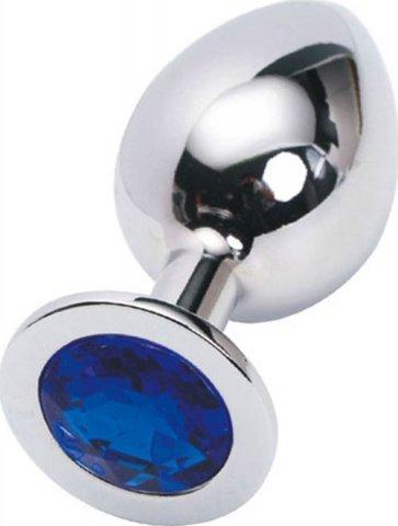 Анальная пробка с синим кристаллом, большая, серебряная, 40 х90 мм