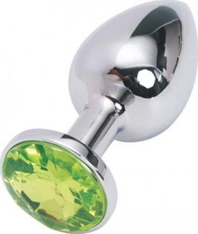 Анальная пробка с зеленым кристаллом, малая, серебряная, 27 х70 мм