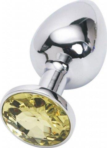 Анальная пробка с желтым кристаллом, малая, серебряная, 27 х70 мм