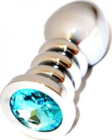 Анальная пробка с голубым кристаллом, большая, серебряная, 35 х100 см