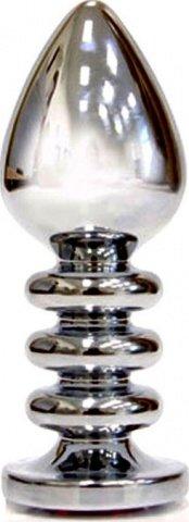 Анальная пробка с фиолетовым кристаллом, большая, серебряная, 35 х100 см, фото 2