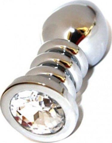 Анальная пробка с прозрачным кристаллом, большая, серебряная, 35 х100 см