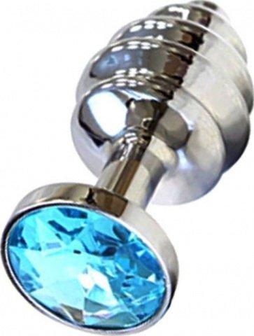 Анальная пробка с голубым кристаллом, серебряная