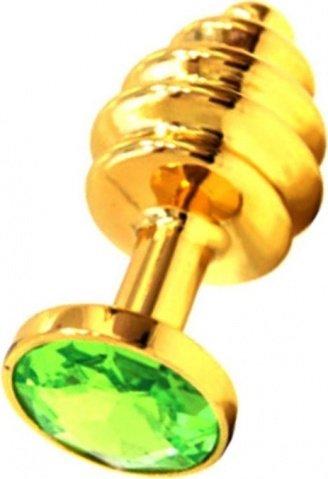 Анальная пробка с зеленым кристаллом, золотая