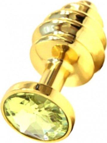 Анальная пробка с желтым кристаллом, золотая