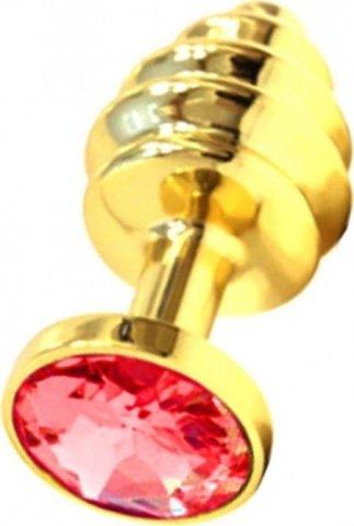 Анальная пробка с красным кристаллом, золотая