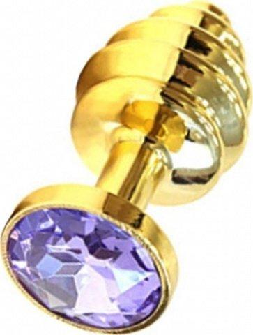 Анальная пробка с сиреневым кристаллом, золотая