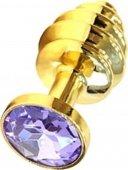 Купить анальные пробки с кристаллом. Анальная пробка с сиреневым кристаллом, золотая. Сексшоп интернет-магазин.