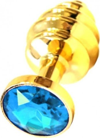 Анальная пробка с голубым кристаллом, золотая