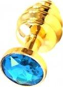 Купить анальные пробки с кристаллом. Анальная пробка с голубым кристаллом, золотая. Самый большой секс шоп.