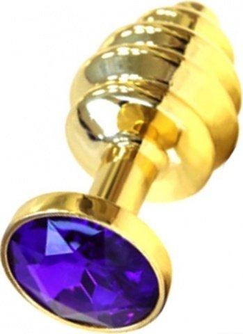 Анальная пробка с фиолетовым кристаллом, золотая